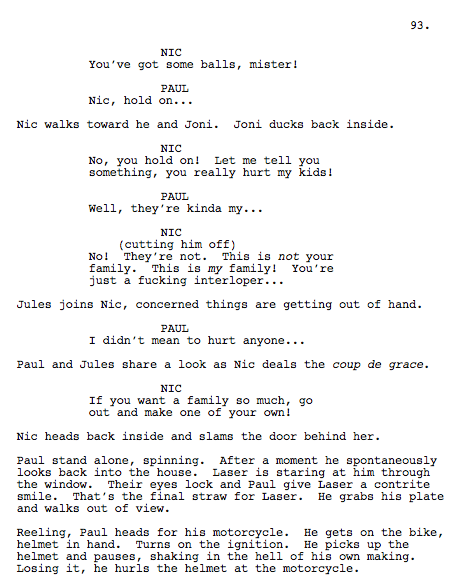 Excerpt from shooting script of The Kids Are All Right