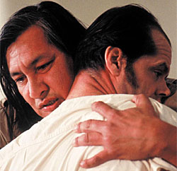 The Chief cradles a lobotomised R P McMurphy (Jack Nicholson) in One Flew Over the Cuckoo's Nest