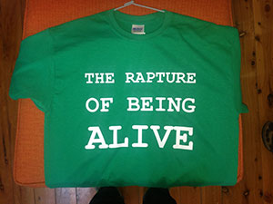 Another of the TV shirts - Joseph Campbell's famous assessment of what people are looking for from story.